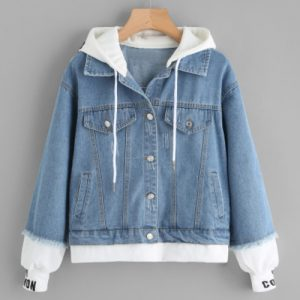 2-in-1 Knit Trim Hooded Denim Jacket