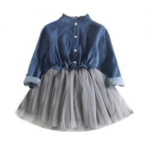 New Toddler Baby Girls Denim Dress Long