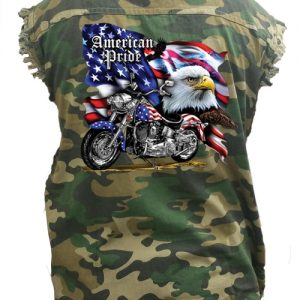 Men's Camo Sleeveless Denim Shirt USA Flag