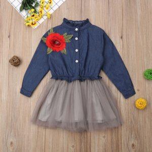 Cute Kids Clothes Active Baby Girls Flower Denim