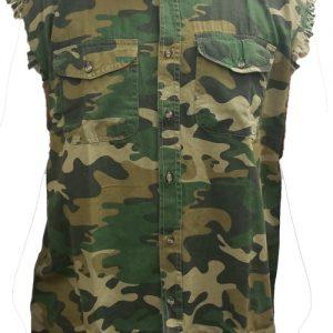 Men's Camo Sleeveless Denim Shirt USA Flag United