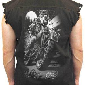 Men's Sleeveless Denim Shirt Biker Bulldog Cats