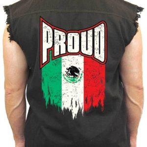Men's Sleeveless Denim Shirt Proud Mexican Flag
