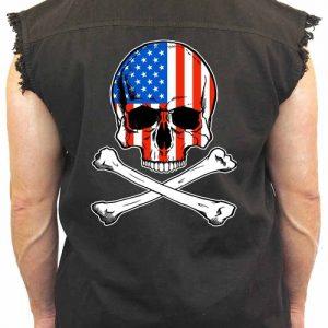 Men's USA Flag Skull with Crossed Bones Sleevless