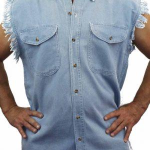 Men's Sleeveless Denim Shirt Biker Vest 2 Front