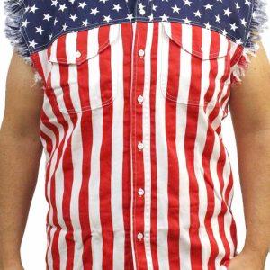 Men's USA Flag Sleeveless Denim Shirt Red White &